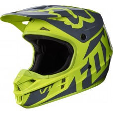 Fox Helm V1 - Race fluogelb/grau