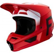 Fox V1 Moto-Cross Helm - Werd Flame rot matt